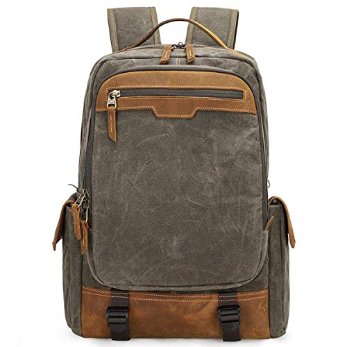 Vintage Canvas SLR Camera Backpack, High Capacity Shockproof Waterproof Leisure Travel Bag Outdoor Camera Rucksack For 15.4 inches Laptop Canon Nikon Sony Tripod Lens -34 20 43 cm Army g
