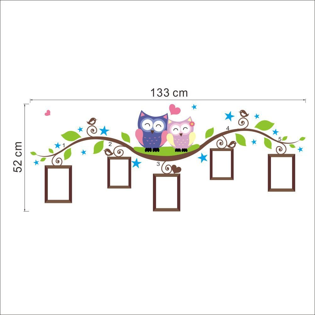 Easy Peel /& Stick LiveGallery Cute Cartoon Birds Owls Family on the Tree Branches Photo Frame Tree Wall Decal Wall Sticker Murals for Kids Baby Child Bedroom Living Room Nursery Classroom Background