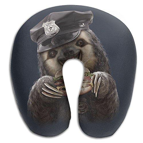 Humor Sloth Cop Eat Humbeger U Shape Memory Foam Neck Pillow Treatment Pain Reading Neck Pillow -
