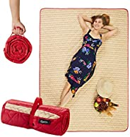 """CANDY CANE Extra Large Picnic Blanket Foldable (78""""x56""""), Perfect Outdoors, Camping and Sandproof Beach Blanke"""