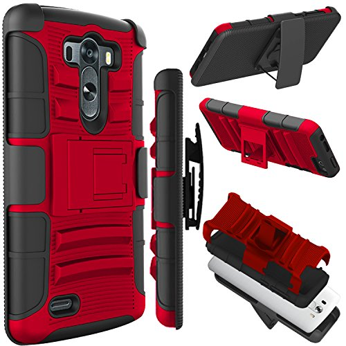 LG G3 Case (5.5 inch), Zenic(TM) Hybrid Dual Layer Armor Defender Full-Body Protective Case Cover with Kickstand & Belt Clip Holster Combo for LG G3 (Red/Black) (Best Phone Case For Lg G3)