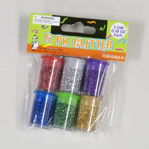 Glitter 6 pack assorted Colors in Jars 96 pcs sku# 409091MA by DDI