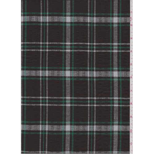 Brown/Green Windowpane Plaid Seersucker Shirting, Fabric By the Yard - Plaid Fabric Seersucker