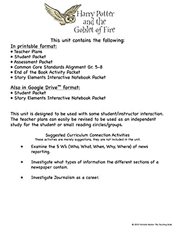 Counting Number worksheets handwriting worksheets for grade 2 : Amazon.com : Harry Potter and the Goblet of Fire Novel Study Unit ...