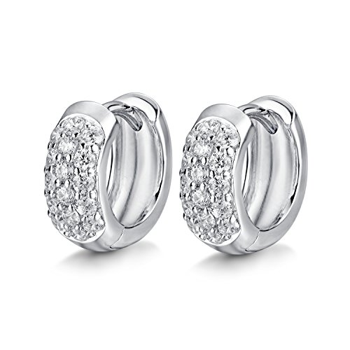 14K White Gold and Rhodium Plated Sterling Silver Cubic Zirconia CZ Hoop Earrings (14k Rhodium Plated)