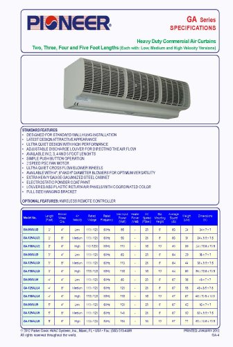 Pioneer Air Curtain 36 Quot Coverage 3 Feet Heavy Duty