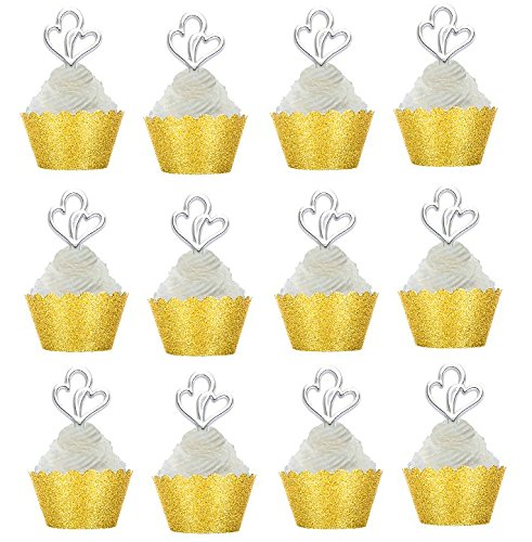 24pk Wedding / Bridal Shower /Anniversary Cupcake Toppers w Glitter Wrappers (Gold Wrappers / Double Heart Rings)