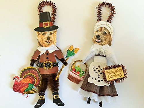 (Norfolk Terrier THANKSGIVING PILGRIM ORNAMENTS Vintage Style Chenille Ornaments Set of 2)