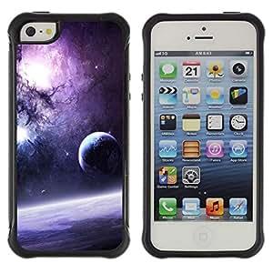 All-Round híbrido Heavy Duty de goma duro caso cubierta protectora Accesorio Generación-II BY RAYDREAMMM - Apple iPhone 5 / 5S - Galaxy Purple Sun Stars Moon Planets Dust Space