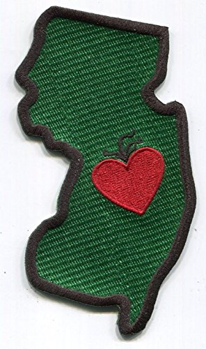 Heart in New Jersey Patch - Embroidered Thread Patch for NJ Locals, Instant Application with a Sticky-Back, No Ironing Required. Apply to Clothing, Coolers, Water Bottles, Glass, Wood NJ Garden State