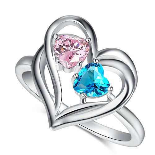 Veunora 925 Sterling Silver Double Heart Together Blue and Pink Topaz Filled Love Ring for Women Size ()