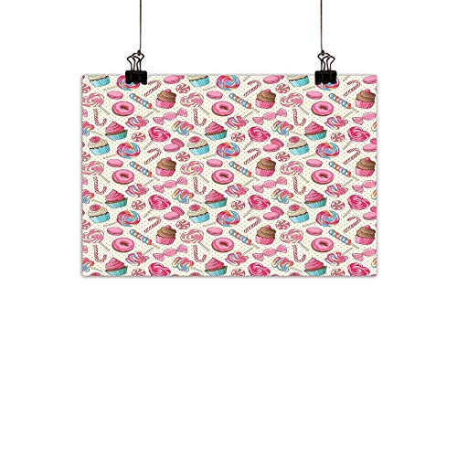 duommhome Candy Cane Modern Frameless Painting Yummy Sweet Lollipop Candy Macaroon Cupcake and Donut on Polka Dots Pattern Bedroom Bedside paintingMulticolor 24