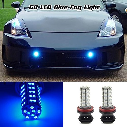 Partsam 2x H8 H11 64212 Ultra Blue Off-road Fog Light Driving Lamp Light Bulb 68 3528 SMD Daytime Running Light Car LED 2 year warranty (2009 Malibu Fog Lights compare prices)