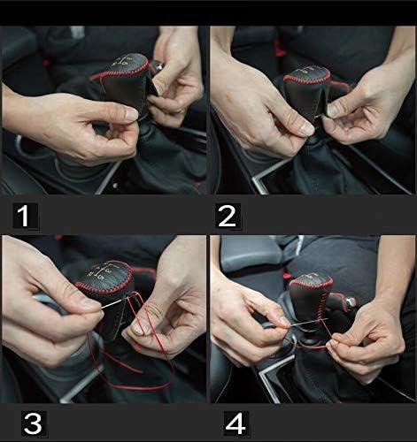 Pomello del Cambio Auto in Pelle Copertura Protezione per 3008 5 Marce Manuale MT Pomello Bastone Cuciture Rosso