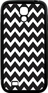 Rikki KnightTM Chunky Chevron Black and White Zig Zag Design Samsung? Galaxy S4 Case Cover (Black Hard Rubber TPU with Bumper Protection) for Samsung Galaxy S4 i9500