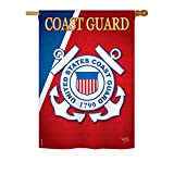 Breeze Decor – Coast Guard Americana – Everyday Military Impressions Decorative Vertical House Flag 28″ x 40″ Printed In USA For Sale
