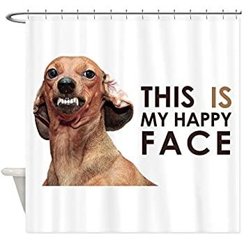 CafePress   Happy Face Dachshund Shower Curtain   Decorative Fabric Shower  Curtain