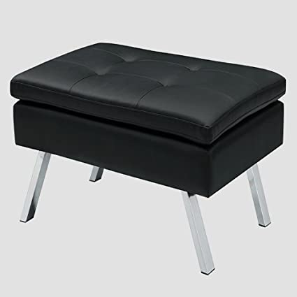 Tremendous Amazon Com Leather Ottoman Bench Black Faux Leather Theyellowbook Wood Chair Design Ideas Theyellowbookinfo