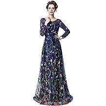 Risestaryiding Women's Formal Dress Flower Embroidery Prom Party Dress Elegant Long Evening Gown