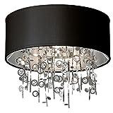 Dainolite Lighting PIC164FH-PC-BK 4-Light Crystal Semi Flush Chandelier
