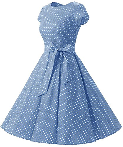 (ANCHOVY Womens 1950s Vintage Dress Cap Sleeve Polka Dot Rockabilly Swing Dresses C70 (Blue,)