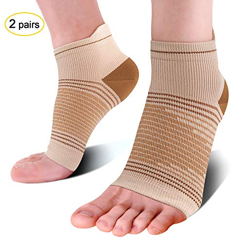 Compression Ankle Sleeve (2 Pairs), Compression Sock Sleeves with Arch Support for Mens Women - Compression Foot Socks for Pain Relief - Plantar Fasciitis Socks, Heel Compression Sleeve. Nude M