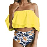 Women Swimsuits,TADAMI Women High Waisted Bikini Swimsuit Two Piece Bathing Suit Top with Swim Bottom Yellow