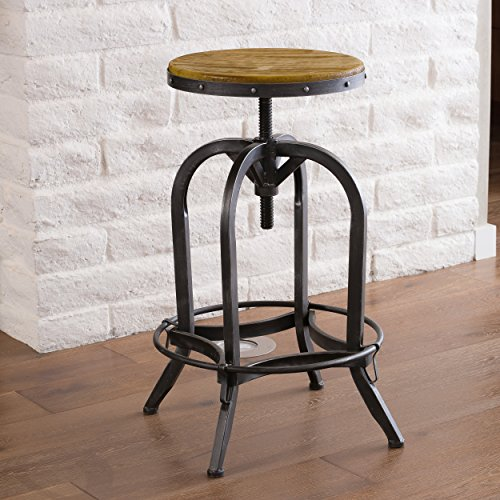 Christopher Knight Home 234615 Christopher Knight Adjustable Natural Fir Wood Finish Barstool, ()