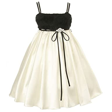 cb0dd654087 Image Unavailable. Image not available for. Color  Kids Dream Toddler Girls  2T Black Ivory Cut Rose Flower Girl Dress