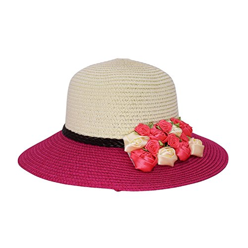 Miki Da Women Ladies Summer Sun Hat - Wide Brim Sun Hats Beach Hat Sun Visor UPF50+ Cap Full UV Protection for Women Girl Rose Red Diamond Visor Beanie