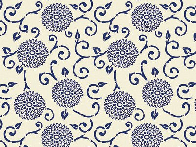 Blue Indigo Rhapsody Floral on Cream Tissue Paper Gift Wrapping 20
