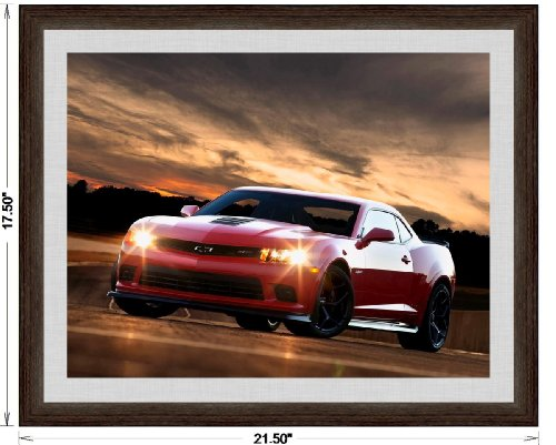 Classic and Muscle Car Ads and Car Art Chevrolet Camaro Z/28 (2015) Framed Car Art Poster Print Orange Red Front Side Night Static View in Dark Walnut Frame, 1