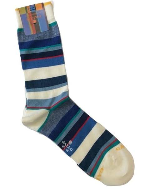 Gallo - Calcetines cortos - para hombre Blanco Bianco Righe Azzurro Blu 40-45: Amazon.es: Ropa y accesorios