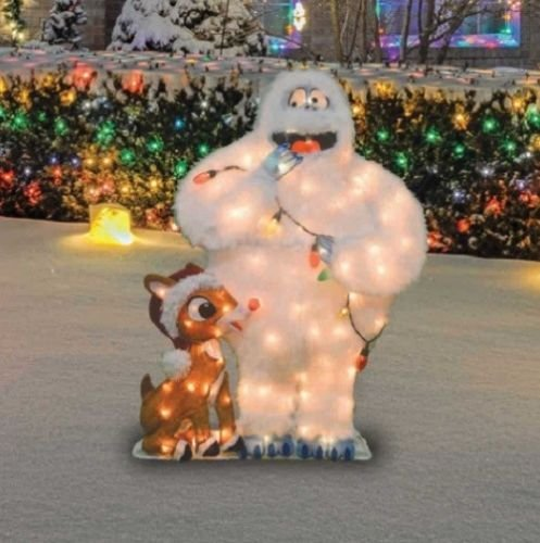 Lighted Rudolph The Red Nosed Reindeer Bumble Sculpture Outdoor Christmas Yard Lawn Decoration Holiday Yard Art