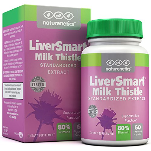 LiverSmart; Tested Milk Thistle Liver Cleanse Formula - Supports Healthy Liver Function* - Perfect For Antioxidant Benefits & Ongoing Liver Support* - 80% Silymarin - 6 Active Ingredients - 60 Vcaps