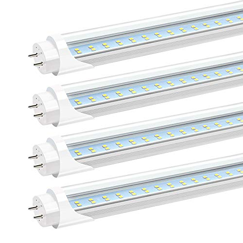 (JESLED T8 4FT LED Light Bulbs - 24W 3000LM, 6000k Cool White, t10 T12 LED Replacement Tube for Fluorescent Fixture, Dual Row LED Shop Garage Light, Clear, Dual-end Powered, Ballast Bypass (4-Pack))
