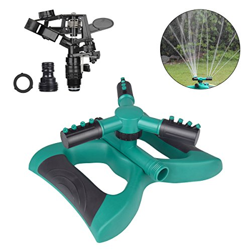 Lawn Sprinkler 360 Degree Automatic Rotating Sprinkler Head Adjustable Sprinklers for Garden,Lawns Irrigation System 3 Arm Sprayer Water Sprinklers 3600 SQ FT Coverage Impact Sprinkler