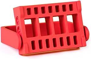 Lumcrissy Nail Drill Bits Holder 16 Holes Stand Displayer Organizer Nail Art Manicure Box (Red)