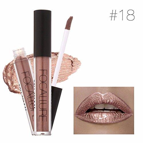 Lipstick Matte Red Lips Makeup Lip Gloss Tint Waterproof Gold Shimmer Metallic Nude Matt Liquid Lipstick Pencil Brand FOCALLURE (# 18)