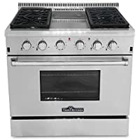 Thor Kitchen HRG3609U 36' Freestanding Gas Range Convection Oven in Stainless Steel