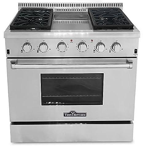 36 Gas Range >> Amazon Com Thor Kitchen Hrg3609u 36 Freestanding Gas Range