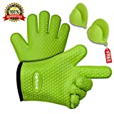 Silicone Grilling Gloves - Best Heat Resistant Oven Mitts For Cooking, Baking, BBQ & Boiling Non-Slip Potholders with Internal Cotton Layer - Includes Mini Oven Mitt (Green)
