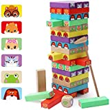 Lewo Colored Stacking Game Wooden Building BlocksTower Board Games for Kids Adults 54 Pieces