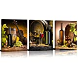 ModeArt 3 Panels Red Wine & Green Grape Wine Cups & Bottles HD Modern Abstract Giclee Canvas Prints Artwork for Kitchen Home (12''x16''x3pcs Framed)
