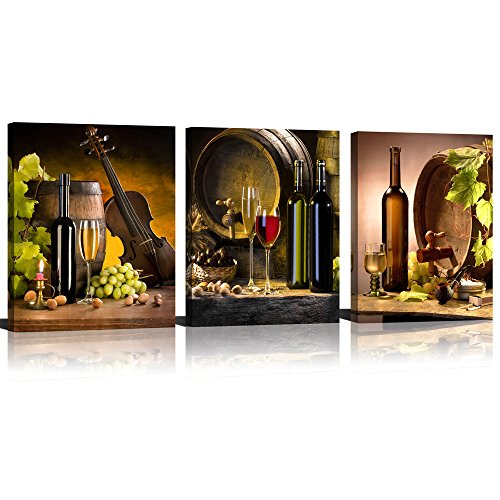 (ModeArt 3 Panels Red Wine & Green Grape Wine Cups & Bottles HD Modern Abstract Giclee Canvas Prints Artwork for Kitchen Home (12