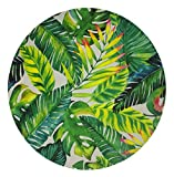 Goodbath Round Area Rug, Tropical Palm Leaves Design Non-Slip Fabric Round Rugs for Bedroom Living Room Study Room Playing Floor Mat Carpet, 3 Feet, Green White