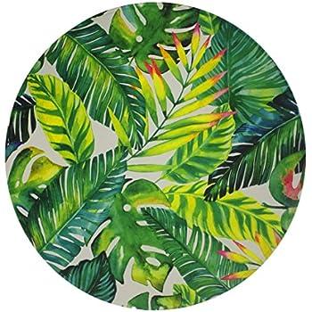 goodbath banana leaf round area rug by tropical palm leaves design non slip fabric. Black Bedroom Furniture Sets. Home Design Ideas