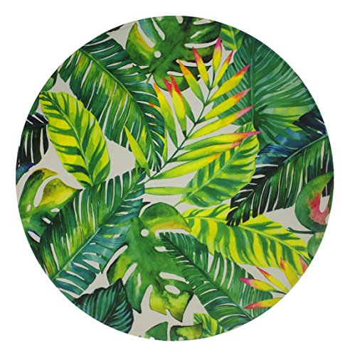 Goodbath Round Area Rug, Tropical Palm Leaves Design Non-Slip Fabric Round Rugs for Bedroom Living Room Study Room Kids Playing Floor Mat Carpet, 3 Feet, Green ()