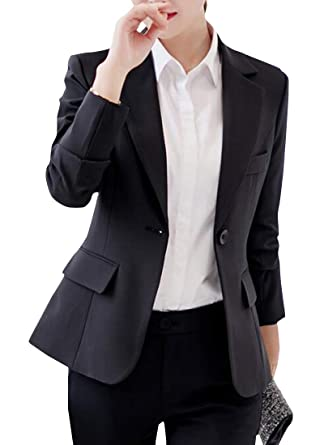 Women Casual Long Sleeve Slim Suit Blazer One Button Formal Work Jacket Coat 2XL