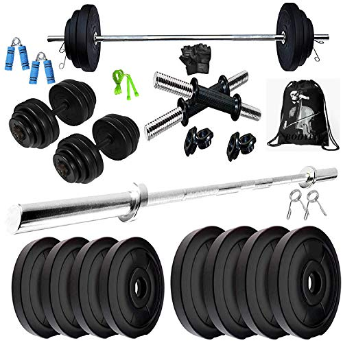 BODYFIT Home Gym Combo, Home Gym Set, Gym Equipments, [8Kg-60 Kg], 4Ft Straight Rod + One Pair Dumbbell Rods, PVC Dumbbell Plates, Home Gym Kit,Weight Plates, Fitness Exercise Set.